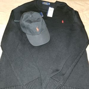 Black LARGE Polo sweater with black Polo cap.